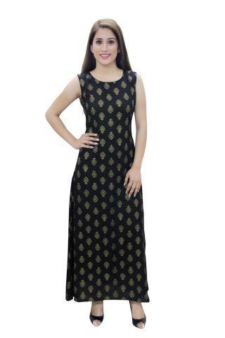 Black Printed A- Line Fusion Dress