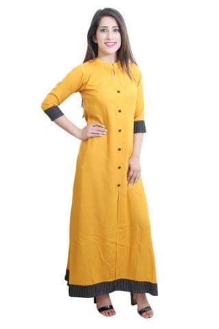 Mustard Color A-Line Maxi Slit Kurta