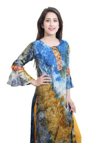 Multi-colored Kurta With Criss-Cross Bell Sleeves