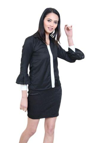 Solid Black Top With Shirt Style Collar and Cuffs