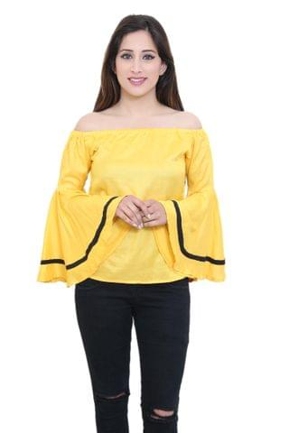 Solid Yellow Off-Shoulder Top