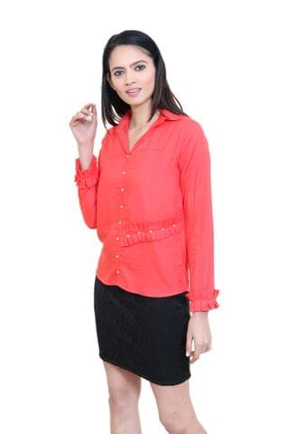 Solid Tomato Red Shirt Style Top