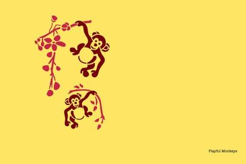 Stencil - Playful Monkey - 16.53 inches x 11.69 inches