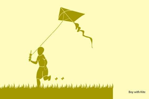 Stencil - Boy with Kite - 16.53 inches x 11.69 inches