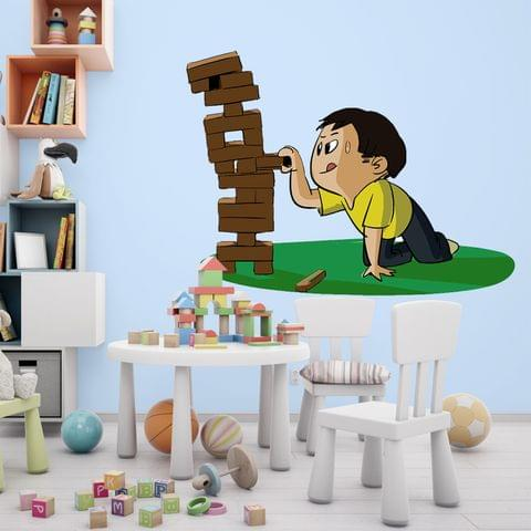 """DIY Wall Stickers Boy Playing Jenga for Home Décor (24""""X18"""")"""