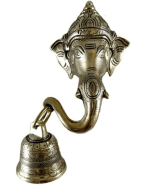 Lord Ganesh face with  bell for wall hanging showpiece of pure brass (Proudly Made In India)
