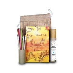 Plantable Stationery Jute bag Kit ( Plantable Pencil and Plantable Pens and Notepad in a Jute bag)