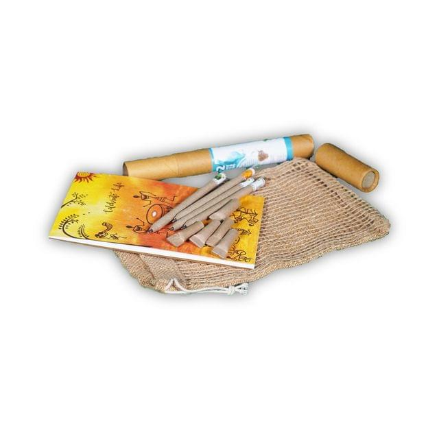 Eco-friendly Plantable Pen (pack of 5) and Notepads in a Jute Bag