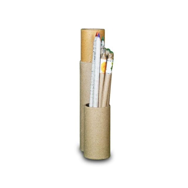 4 Eco-friendly Newspaper Color Pencils and 4 Plantable Pens [In a Tube]