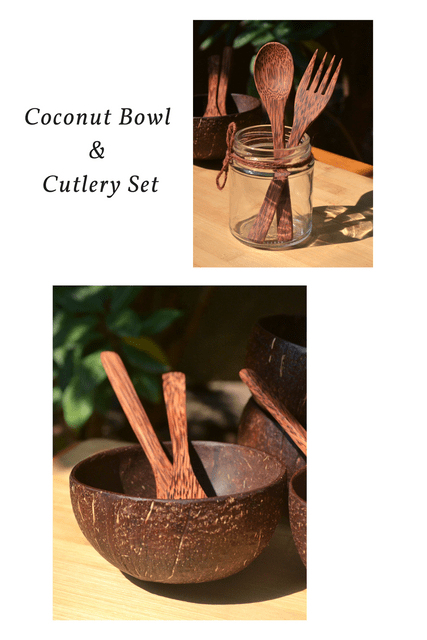 Coconut Bowl & Cutlery Set Combo