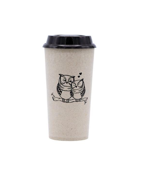 Rice Husk Coffee Cup - Owl Design