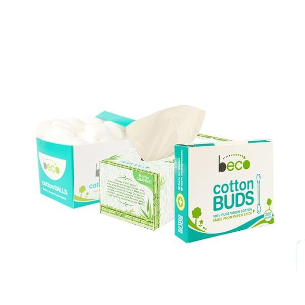 Facial Tissue Carbox - 200 Pulls + Eco-Friendly Cotton Balls + Cotton Buds