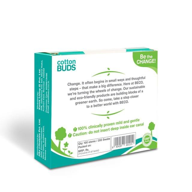 Cotton Buds with Paper Stick -100 Sticks (200 Swabs ) - Pack of 4