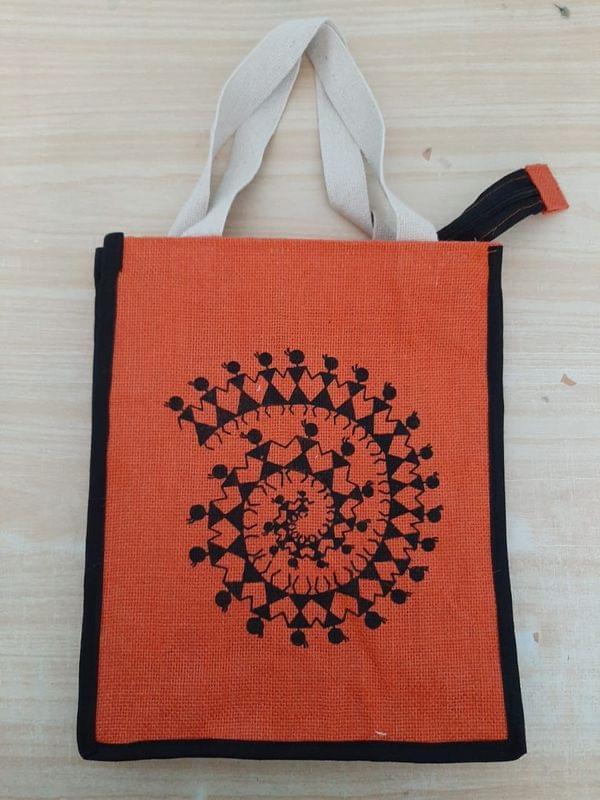 Warli Print Jute bag - 1 Pc