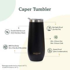 Caper Black Stainless Steel Tumbler - 270 ml