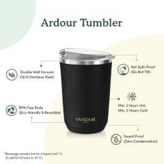 Ardour Black Tumbler - 350ml